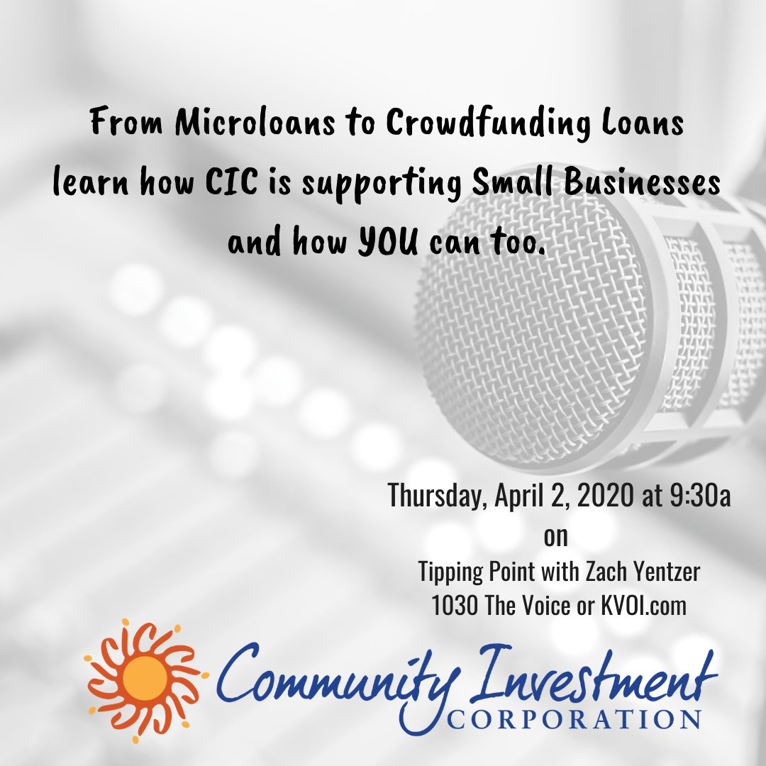 Tune in to Tipping Point with Zach Yentzer on 1030 The Voice tomorrow to hear CIC's own Danny Knee discuss the varieties of assistance options available to to help local businesses survive during this time of mandated distancing and closures.  https://www.kvoi.com/onair/tipping-point-with-zach-yentzer…pic.twitter.com/dlDl4cU7x1