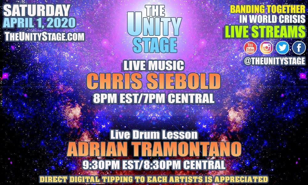"tonight, April 1, 2020 at  8PM EST-@unclesiebs (venmo: @chris-siebold  9:30PM EST - Adrian Tramontano -drum intricacies. Venmo - ""adrian-tramontano"" Remember to consider a digital tip via Venmo  #StayHomeBands #livemusic #streamingmusic #drumming http://TheUnityStage.com"