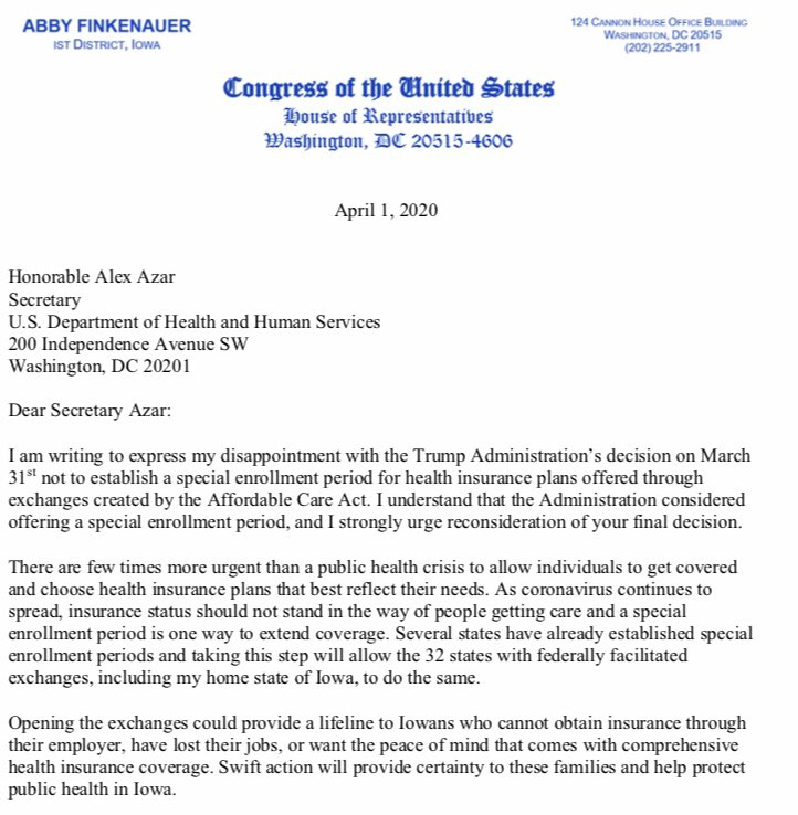 Re-opening ACA marketplaces and allowing uninsured Iowans to enroll in health plans could save lives and ensure financial security during the coronavirus pandemic. I sent a letter to HHS Sec. Azar encouraging the Administration to reconsider this misguided decision. #IA01