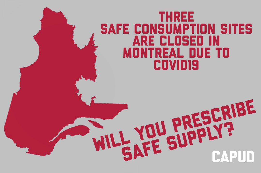 Three Safe Consumption Sites are temporary closed due to #COVID19 . Leaving just CACTUS Open at reduced capacity.   People need a safe supply...Will you save someone's life by prescribing #SafeSupply ? #Montreal  #Quebec  #Canada