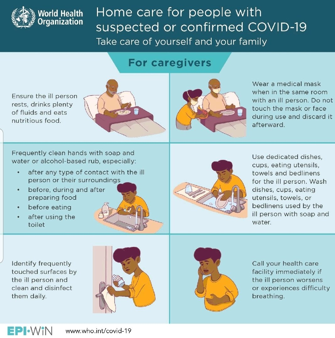 According to WHO, Homecare givers for people to be suspected or confirmed COVID19 should kindly do the following; pic.twitter.com/jidTE97WVD