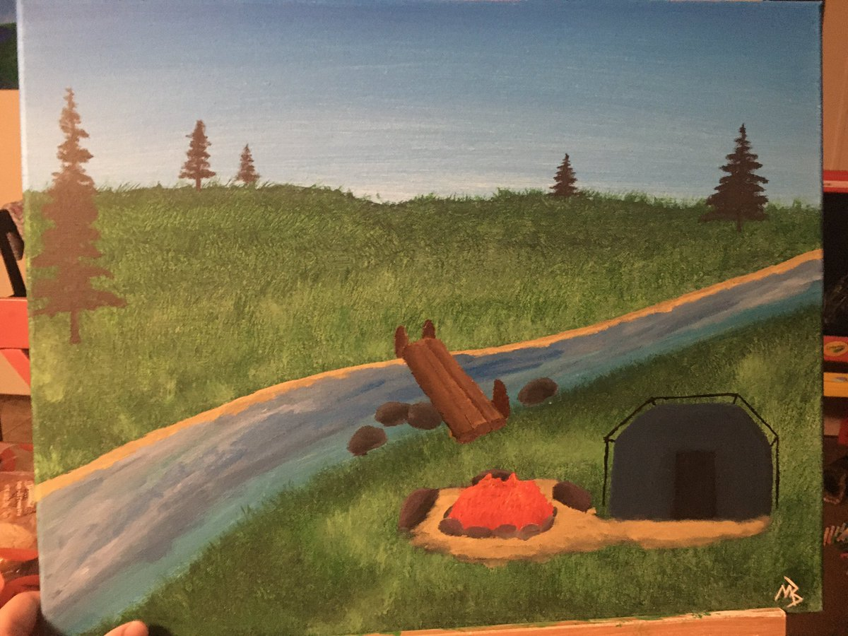 An #acrylic #camping #landscape done in my style pic.twitter.com/K3Gr0E6vOv
