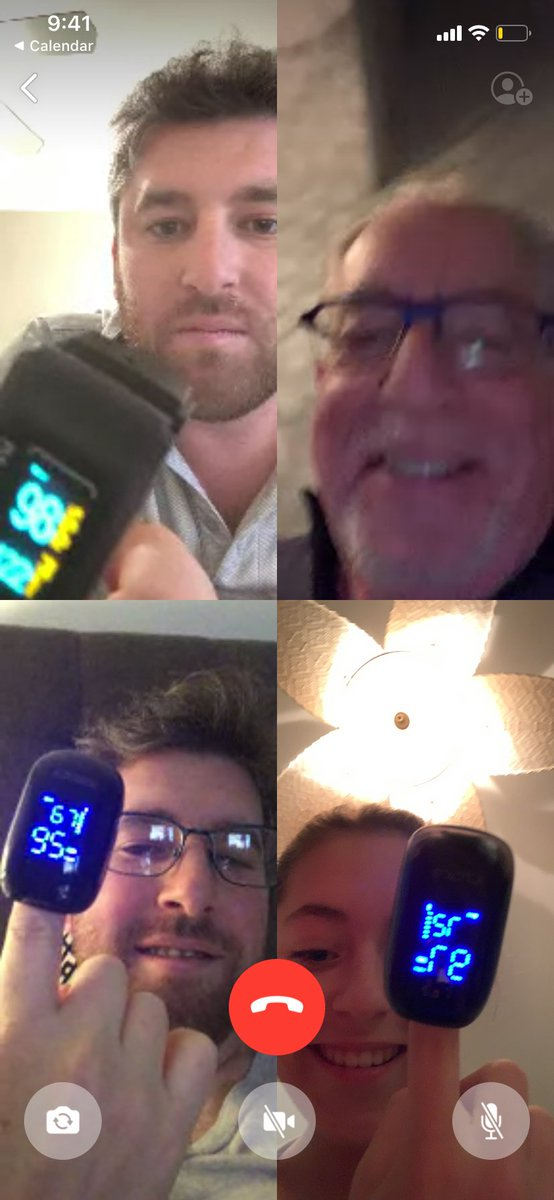 test Twitter Media - Isolation is a bad excuse to catch up with family but fun 4 way call tonight. At least I convinced them to get the finger pulse oximeter. Oxygen level up to 95. Day 16 and left with minor shortness of breath, lingering cough. Taste slowly coming back. Stay home. Stay safe. https://t.co/AJpiulkmVx