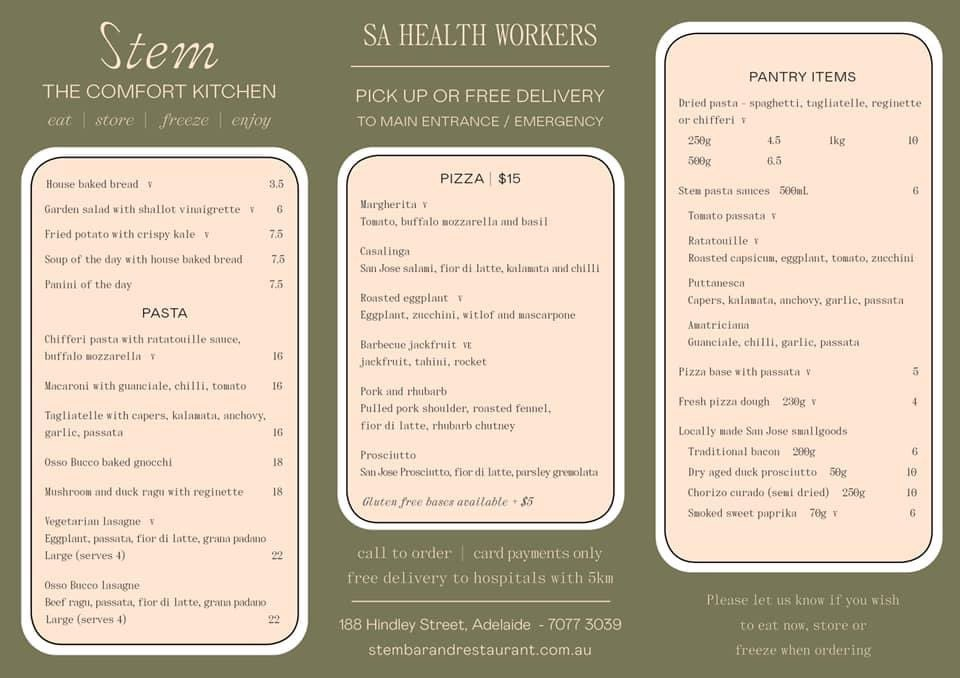 For those #HealthCareWorkers in #Adelaide #SouthAustralia, our colleagues who also happen to own Stem Restaurant have a new deal us. Discount prices and free delivery within 5km. Thanks Lachy and Tom. http://www.stembarandrestaurant.com.aupic.twitter.com/vrmJAx8or3