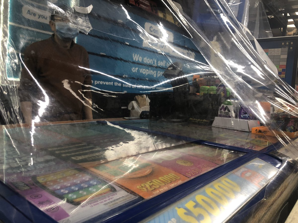 Grocery stores have their plexiglass barriers. This local convenience store added its own version. #staysafepic.twitter.com/0Mflqih9bi