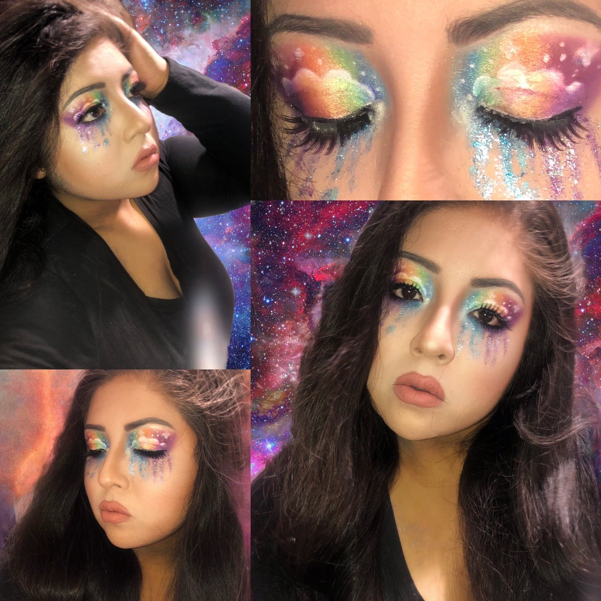 New make up lewk! My anxiety was so bad so I beat my face with rainbows lol Lisa frank much? #MakeupBrushChallenge #makeupartist #makeuplooks #mua #supportmua #makeupchallenge #makeuplisafrank #lisafrank #likeforlike