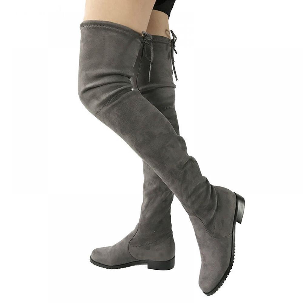 #design #likeforlike Women Trendy Winter Suede Knee-High Boots