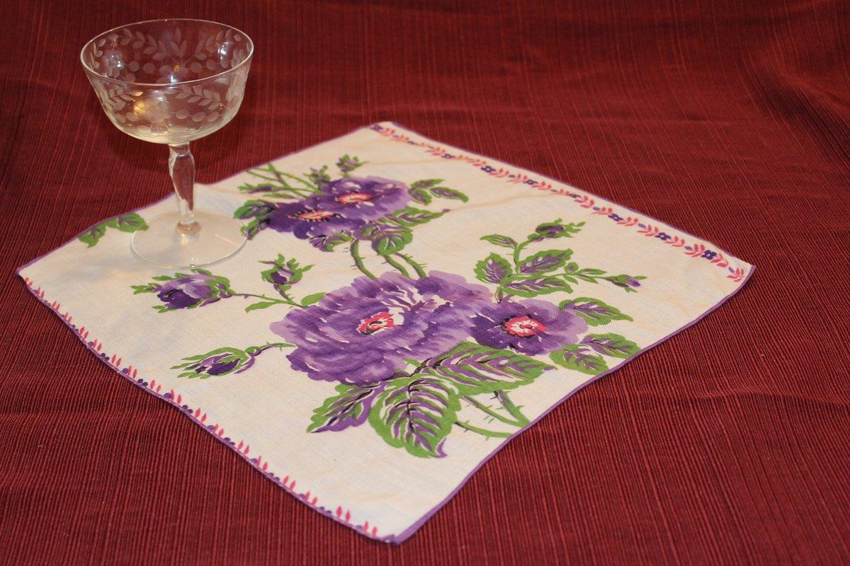Vintage Rose Hankie, Large Graphic Floral Handkerchief, Retro, Purple, Green White Red Black Linen Flowers Garden Gift For Mom Pocket Square http://tuppu.net/f2f2791f  #PocketSquarepic.twitter.com/79AnvNu7lk