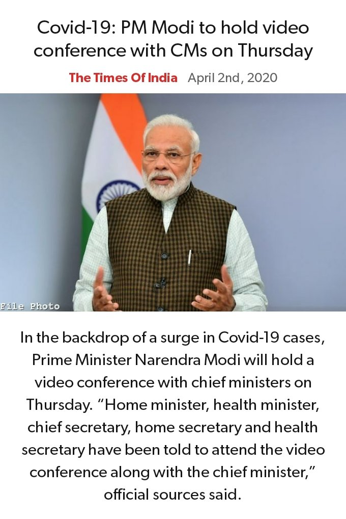 Covid-19: PM Modi to hold video conference with CMs on Thursday https://timesofindia.indiatimes.com/india/covid-19-pm-modi-to-hold-video-conference-with-cms-on-thursday/articleshow/74928586.cms… via NaMo Apppic.twitter.com/NOckyZPWLM