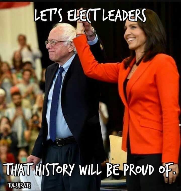 @EcoSocYogi @TulsiGabbard yes @TulsiGabbard now would B an ideal time 2 denounce #PredatorBiden & switch endorsement to #Bernie2020 please do it (Yang should do it too)