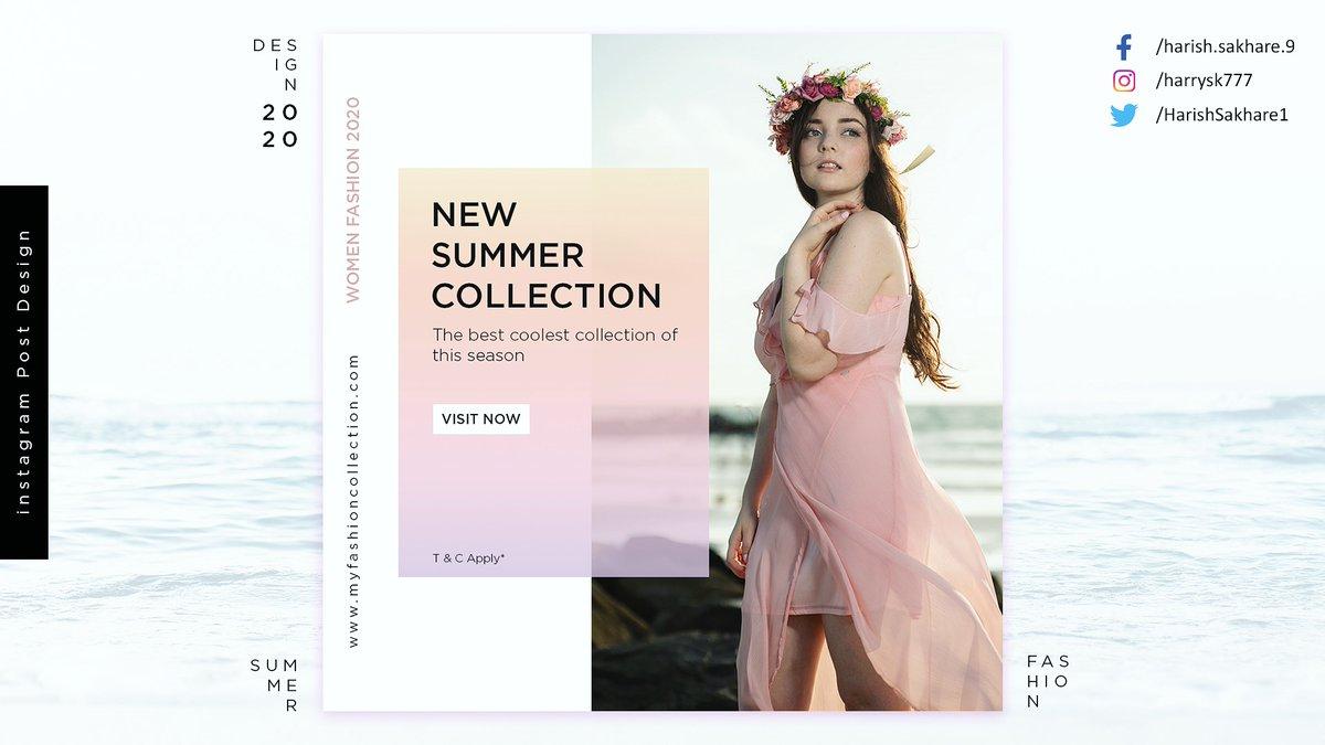 Summer Fashion - Instagram Post Design #SocialMedia #socialmedia #design #graphicdesign #fashion #Summer2020