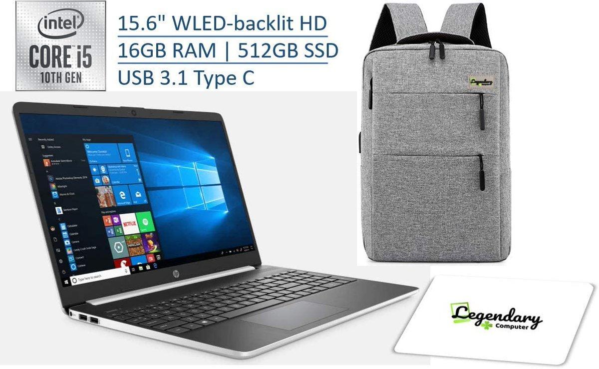 "HP 2020 15 15.6"" HD Touchscreen Premium Laptop - 10th Gen Intel Core i5-1035G1, 16GB DDR4, 512GB SSD, USB Type-C, HDMI, Windows 10 - Silver W/ Legendary Computer Backpack & Mouse Pad Bundle https://amzn.to/39ChUR2pic.twitter.com/a3AGTQgZcQ"