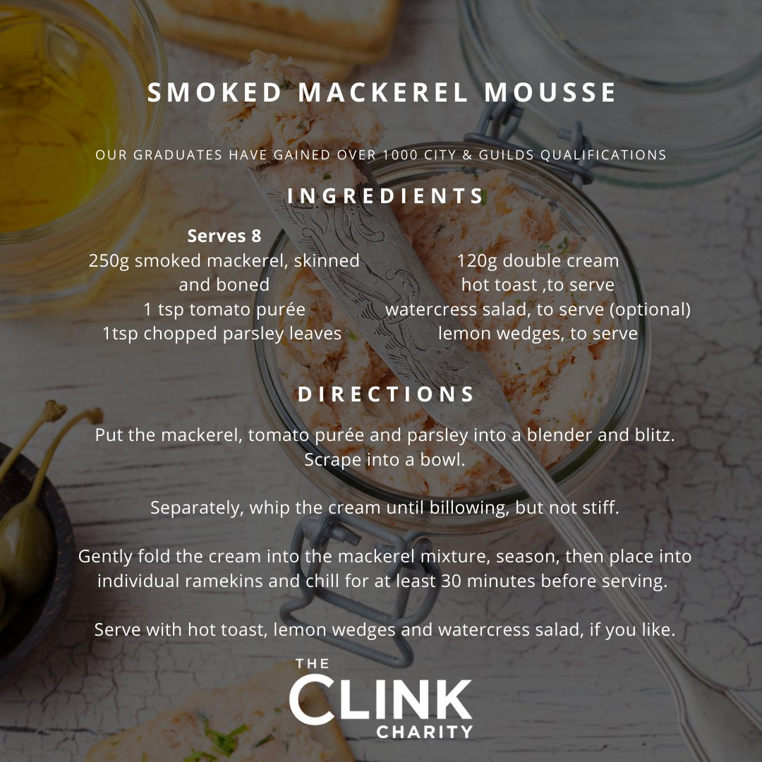 A sneak peek preview from #TheClink 10 year anniversary recipe book! Try out this #delicious smoked mackerel mousse is a treat served with hot toast and lemon wedges. Our graduates have gained 1,101 @cityandguilds qualifications #TheClink #TheClink10Years