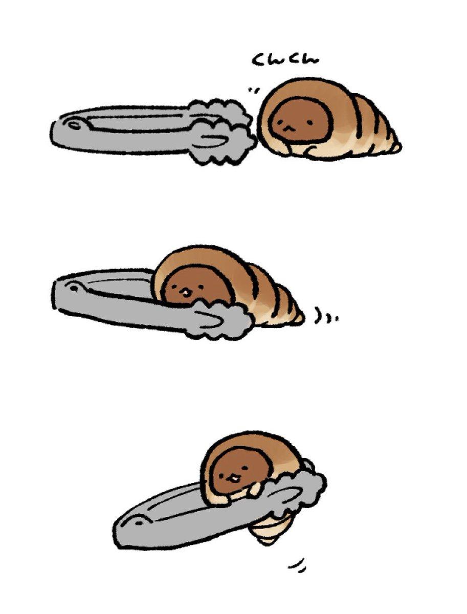 パンはトング怖いので、トングの先しばらく嗅がせて自分から挟まりにきたら優しく持ち上げてください