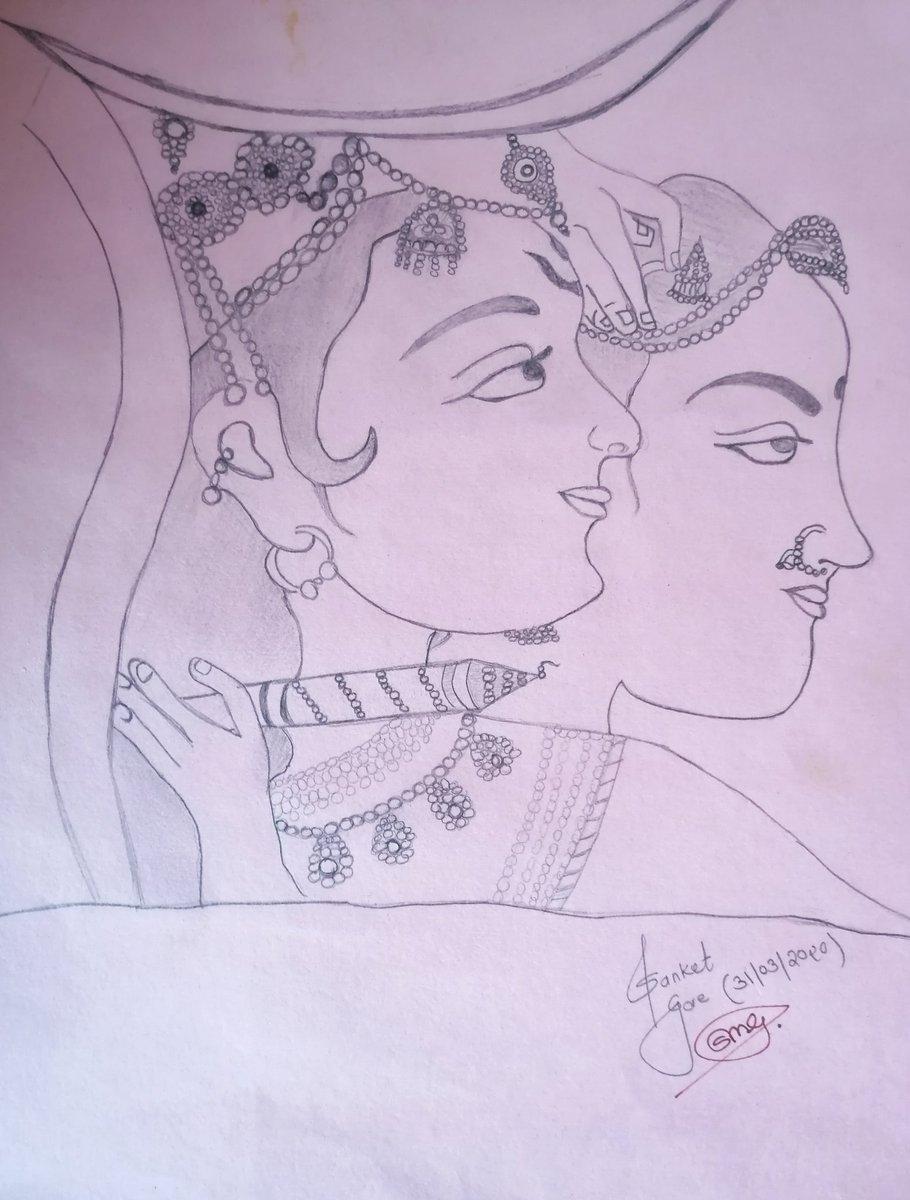 जिस पर राधा को मान हैं, जिस पर राधा को गुमान हैं, यह वही कृष्ण हैं जो राधा के दिल हर जगह विराजमान हैं। 💓💓💓💓💓 #1sttime #जमतयका #Art #sketch #RadhaKrishn #प्रेम #QuarantineLife