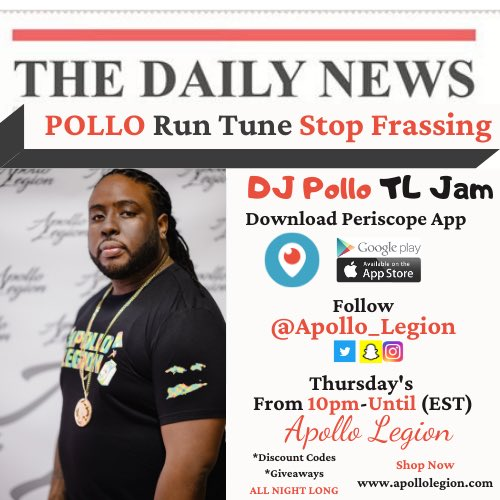 RT @Apollo_Legion: I want some lit 🔥 people by my apartment when I do my live stream tomorrow!! #TLJam https://t.co/WkYD4skcsZ