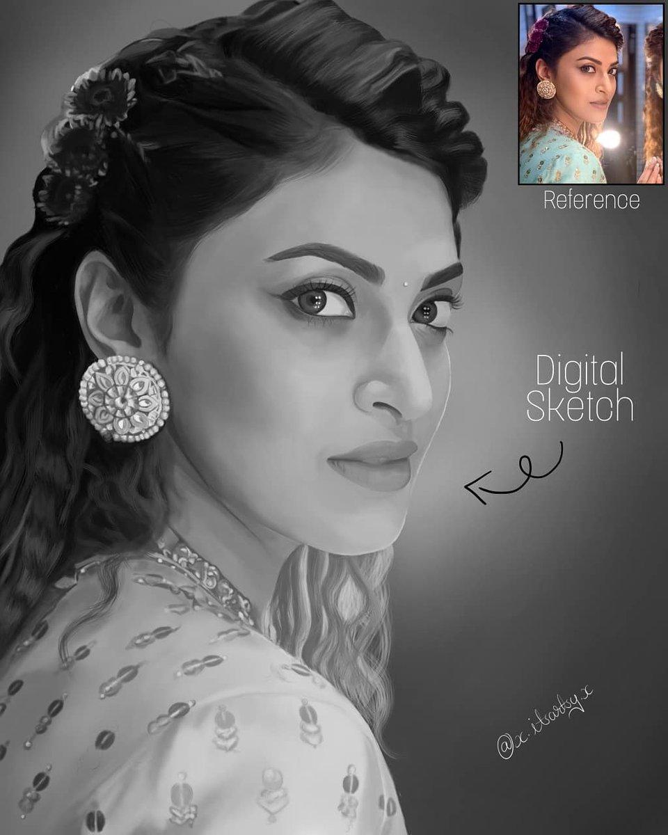 The beautiful @anushka0110 Hope you like it❤  #art #sketch #pencil #black #digital #digitalpainting #digitalsketch #drawing #artwork #style #portrait #artsy #glamour #model #artist #nostalgia #beauty #anushkaranjan #adityaseal #fittrat #weddingpullav