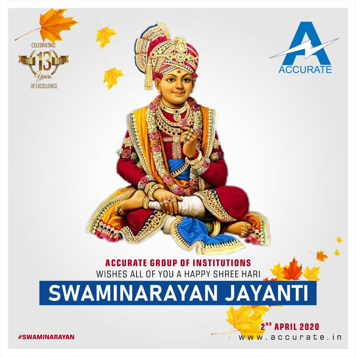 ACCURATE GROUP OF INSTITUTIONS WISHES ALL OF YOU A HAPPY SHREE HARI SWAMINARAYAN JAYANTI  #shreehari #swaminarayan #jayanti #happy #joy #health #accuratecampus #greaternoida