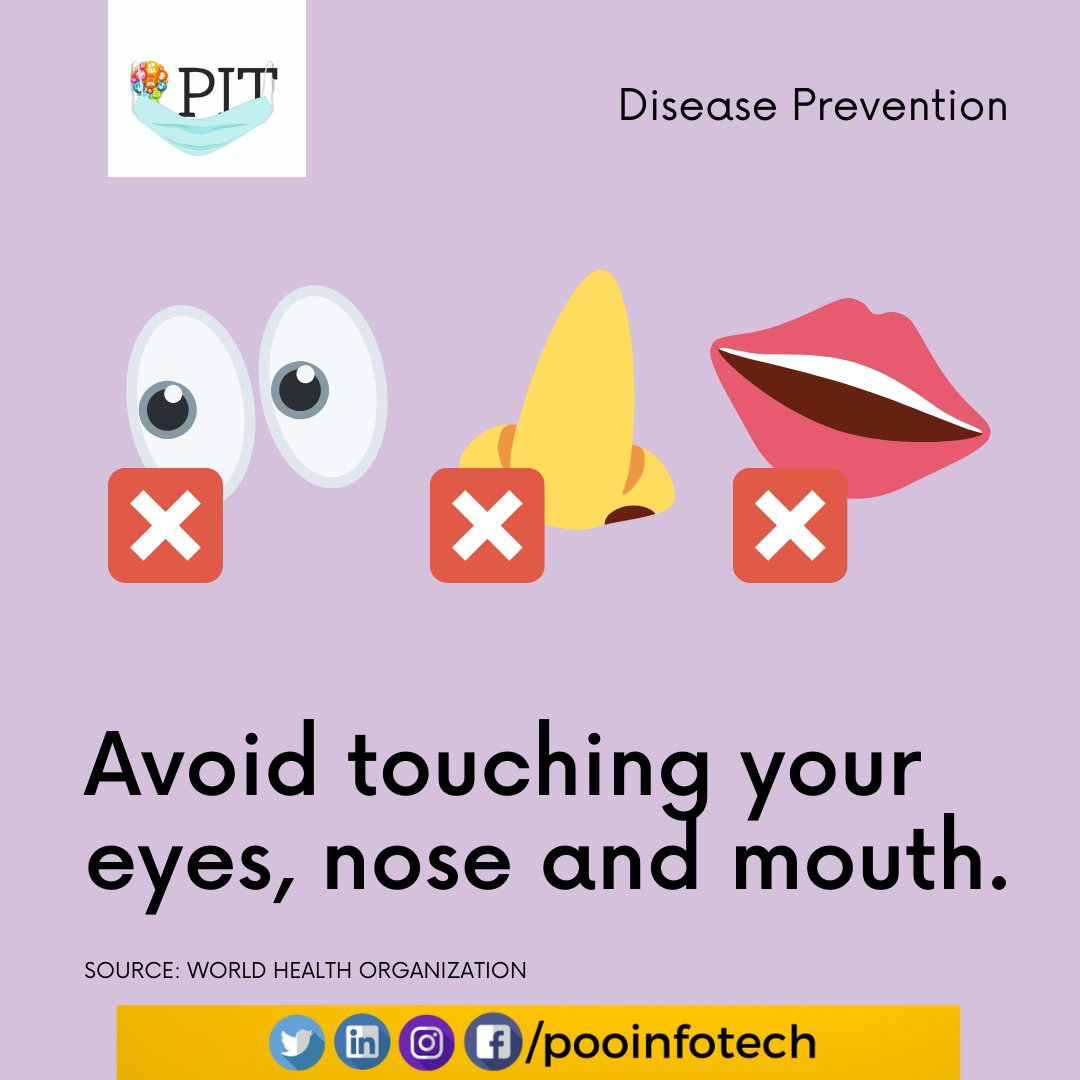 You are less likely to get sick from viral respiratory infection by avoiding touching your face. #coronavirusinindia #covid_19 #corona #covid19pandemic #coronaviruslockdown #pmcares #coronavirusoutbreak #digitalmarketingtraining #PIT #pooinfotechpic.twitter.com/n9aqoSMhp6