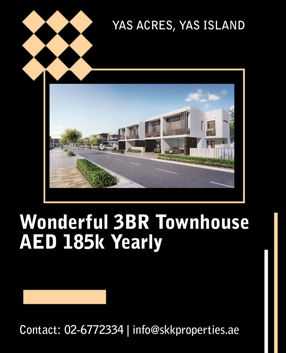 Beautiful 3BR TH| Ready to move in | Close To Gym  AED 185,000 yearly.  Contact us today to get this amazing offer.  Call : 026772334 Email: info@skkproperties.ae  #UAE #abiduabi  #callustoday #homes #bedroom #lifestyles #skyline #towers #park #canal #parks #almarasy #dubai https://t.co/89ZZrBkjIy