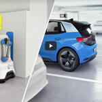 Image for the Tweet beginning: Volkswagen's latest robot makes charging
