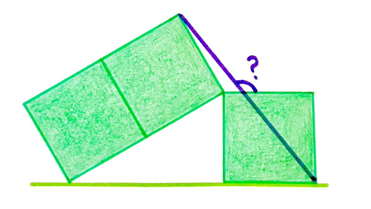 The squares are all the same size. What's the angle?