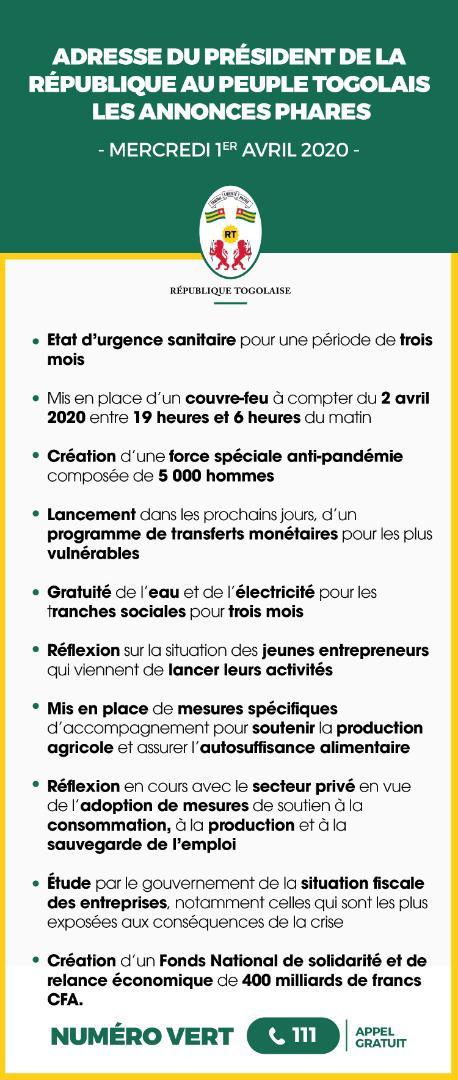 Les annonces phares de l'adresse du Président de la République à la Nation Togolaise ce 1er Avril 2020. #TgContreLeCovid19 #GestesBarrières #COMMUNEOGOU1 https://t.co/y90EZf1Omy