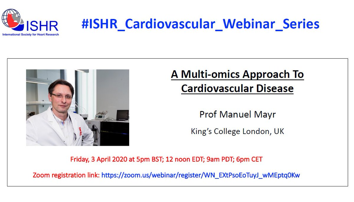 "Pleased to be part of the #ISHR_Cardiovascular_Webinar_Series with Prof Mayr giving a talk on ""a #multiomics approach to #cardiovascular disease"" on the 3rd of April! Register to watch live: https://t.co/o3wcxGs7Q1"