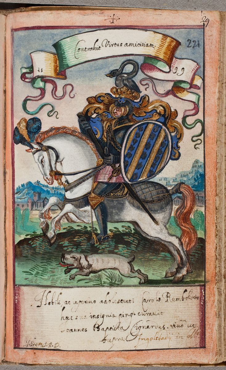 3/ Of course, #horses feature often in contributions of noblemen in alba amicorum. They symbolize their knightly valor and excellent stock. This majestic creature features in the album of Carolus Rembold from #Ausburg (1599) (@KB_Nederland KW 131 E 18) (and also shows a #Dog !)pic.twitter.com/ZjM7vRxlwl