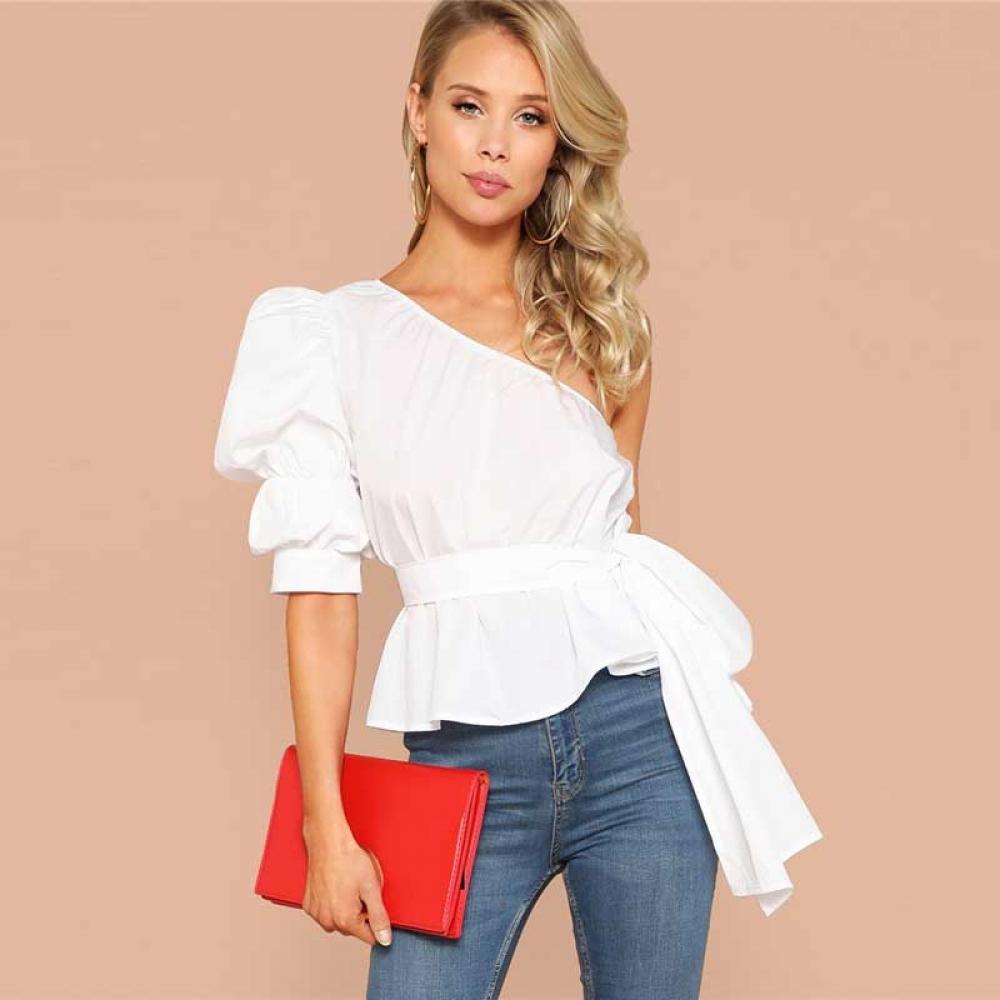 #igers #tagsforlikes Women's One Shoulder Belted Blouse