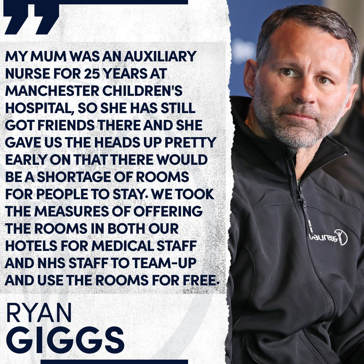 A couple of weeks ago Laureus Academy member Ryan Giggs and former Manchester United teammate Gary Neville made their hotels available for NHS workers in the UK ❤️  #StaySafeStayHealthy #StayHome