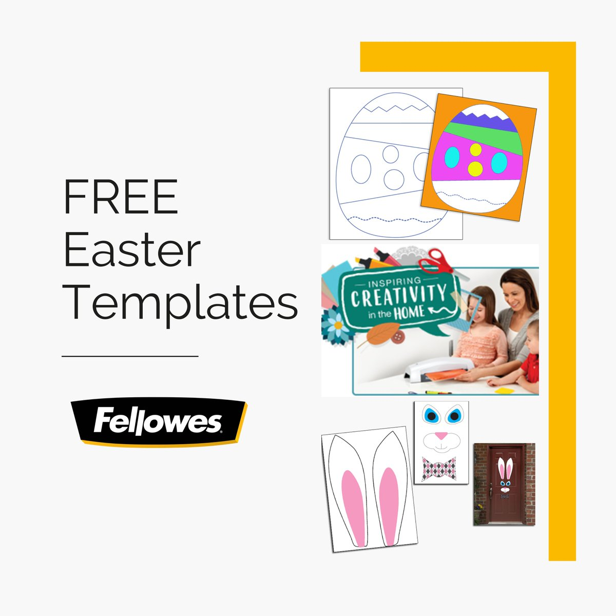 Keep the Fun Going this 🐰Easter with our FREE creative Easter laminating projects.  ⬇️ Download  🖨️ Print ✂️ Cut 👌 Laminate  .  👇Download and explore 100s of free ready-made resources and inspirational ideas on the Fellowes Ideas Centre. . . #Easter #DIY #HomeActivities