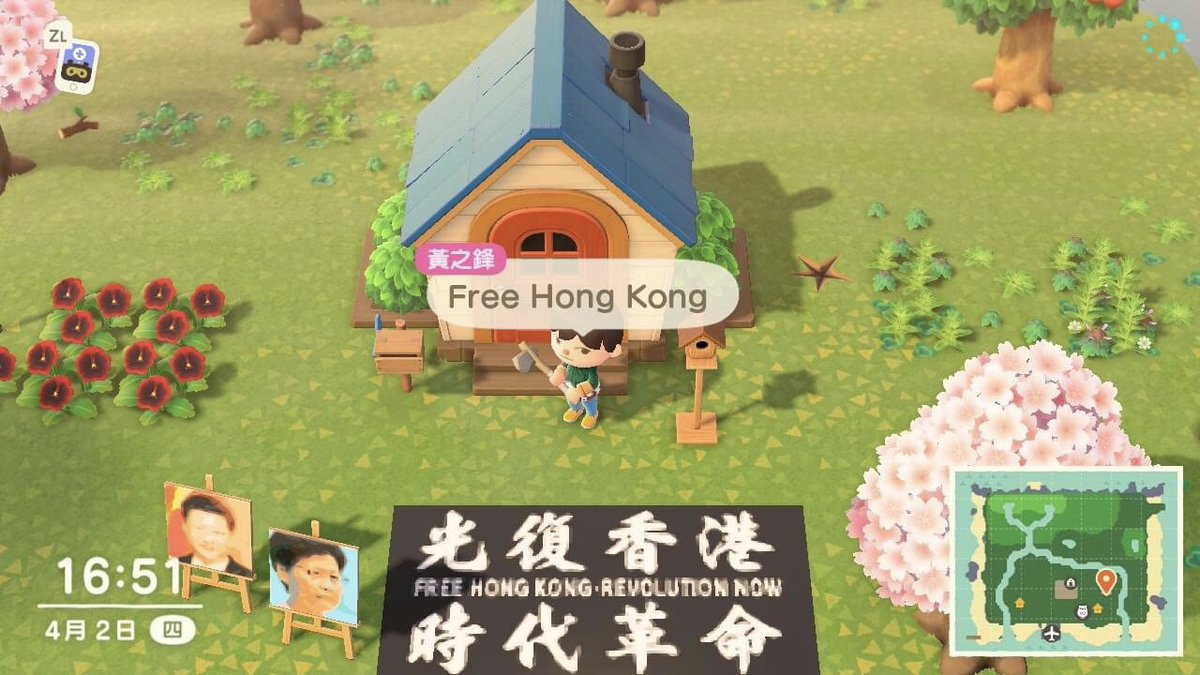 Animal Crossing is Fast Becoming a New Way for Hong Kong Protesters to Fight for Democracy! The #Covid_19 pandemic has halted public demonstrations, so protesters are taking their cause to #AnimalCrossing. https://www.usgamer.net/articles/animal-crossing-new-horizons-is-fast-becoming-a-new-way-for-hong-kong-protesters-to-fight-for-democracy…   (This is my island!)
