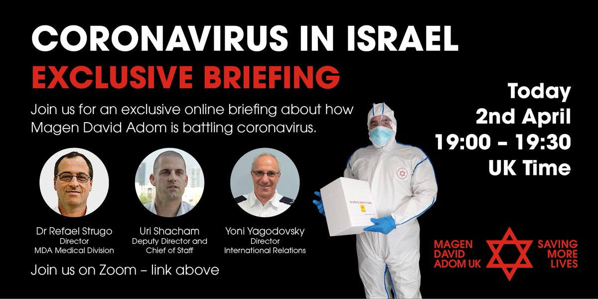 Join us today from 7pm for an exclusive online briefing about how Magen David Adom is battling #coronavirus.  SpeakersDr Refael Strugo, Uri Schacham, Yoni Yahodovsky Connect at: https://zoom.us/j/262616269  #covid19 @Mdais #israel #virtualeventpic.twitter.com/bMg2vXx95y