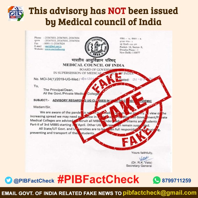 A stamp with the word FAKE on an advisory claiming to be by  Medical Council of India.