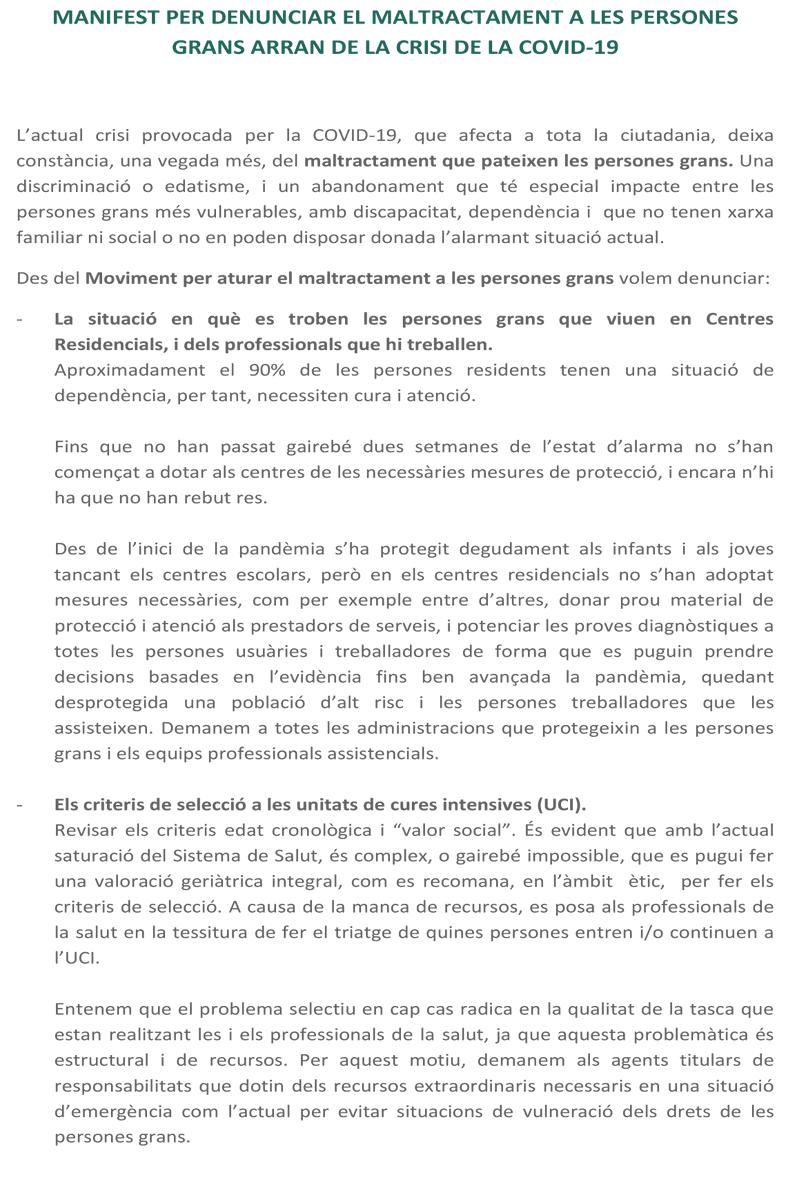 """test Twitter Media - El pots llegir també des d'aquí:  """"MANIFEST PER DENUNCIAR EL MALTRACTAMENT A LES PERSONES GRANS ARRAN DE LA CRISI DE LA COVID-19"""" https://t.co/ICjM6AtskM"""