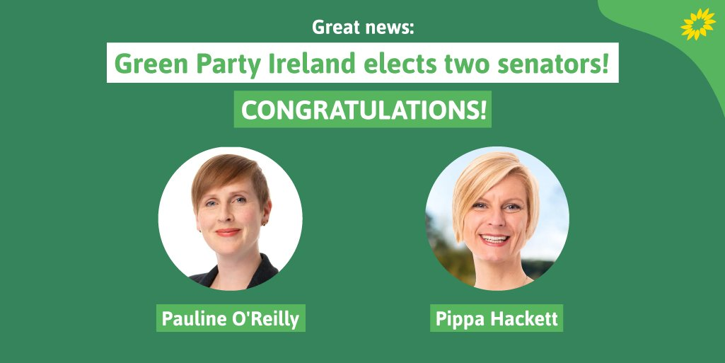 A great day for @greenparty_ie as two Green Senators are elected to Irelands upper house - the Seanad. And theyre both women! Congratulations @pippa_hackett and @paulinegalway! #Seanad2020