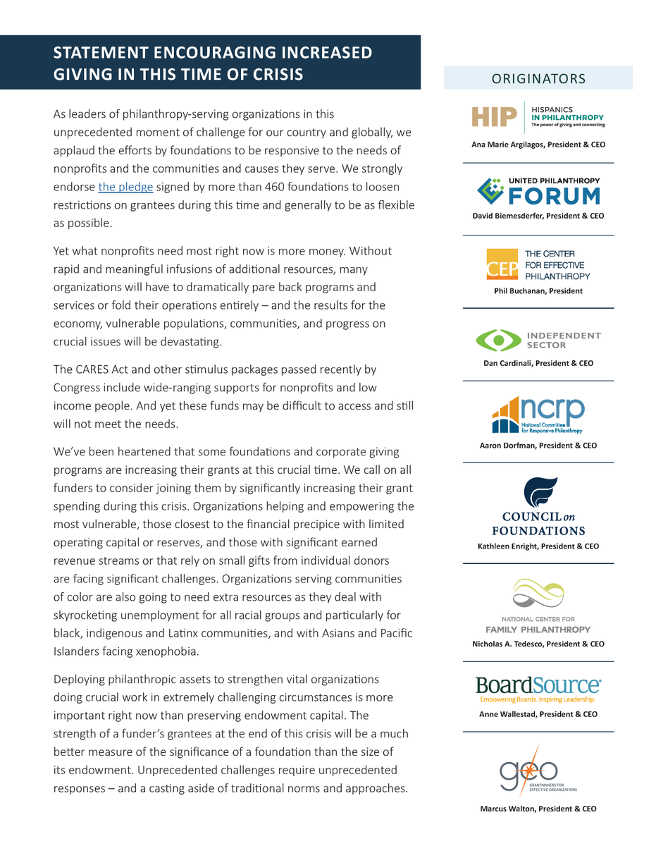 .@NCRP is proud to join leaders from @BeHIPGive, @unitedphilforum, @CEPData, @IndSector,  @COF_, @familygiving, @BoardSource and @GEOFunders in calling for funders to increase their giving during the #COVID19 crisis https://bit.ly/2ytIoaO  #philanthropy pic.twitter.com/hFgwr8MdOB