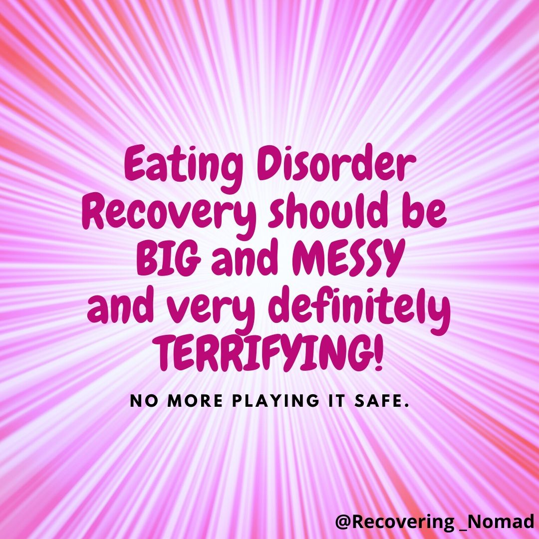 Don't play it safe in eating disorder recovery... it will only keep you stuck.  Make recovery big and messy and it will be terrifying but it will also be worth it!  #eatingdisorders #eatingdisorderrecovery #recoveryisworthit #mentalillnesspic.twitter.com/WVdHh0kmYq