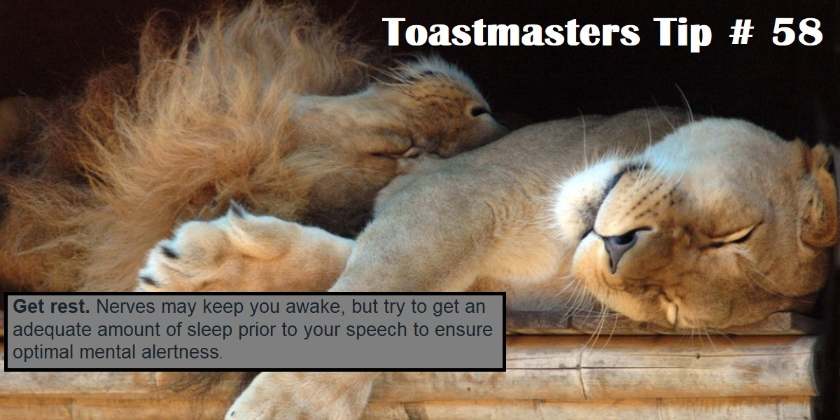 Good advice for speeches, but just as important to get rest during these stressful times of self-isolation and fear of catching COVID-19.    Stay safe, stay healthy.  #Toastmasters #PublicSpeaking pic.twitter.com/wQ8hckkvNV