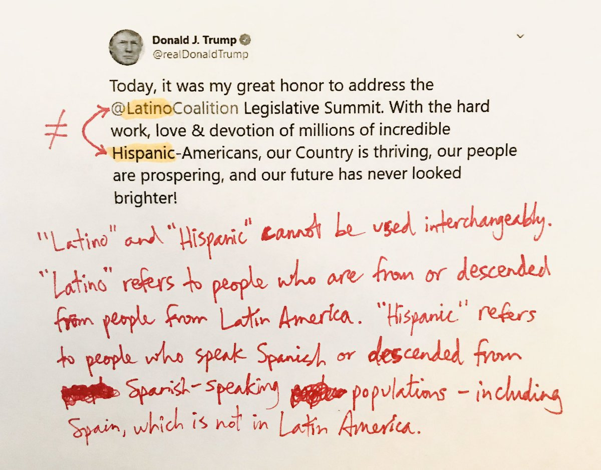 You famously proclaimed your love for Hispanics while eating a taco bowl on Cinco de Mayo, @realDonaldTrump. That's why this error is extra disappointing! #latino #hispanic pic.twitter.com/JIiN7sTV0D