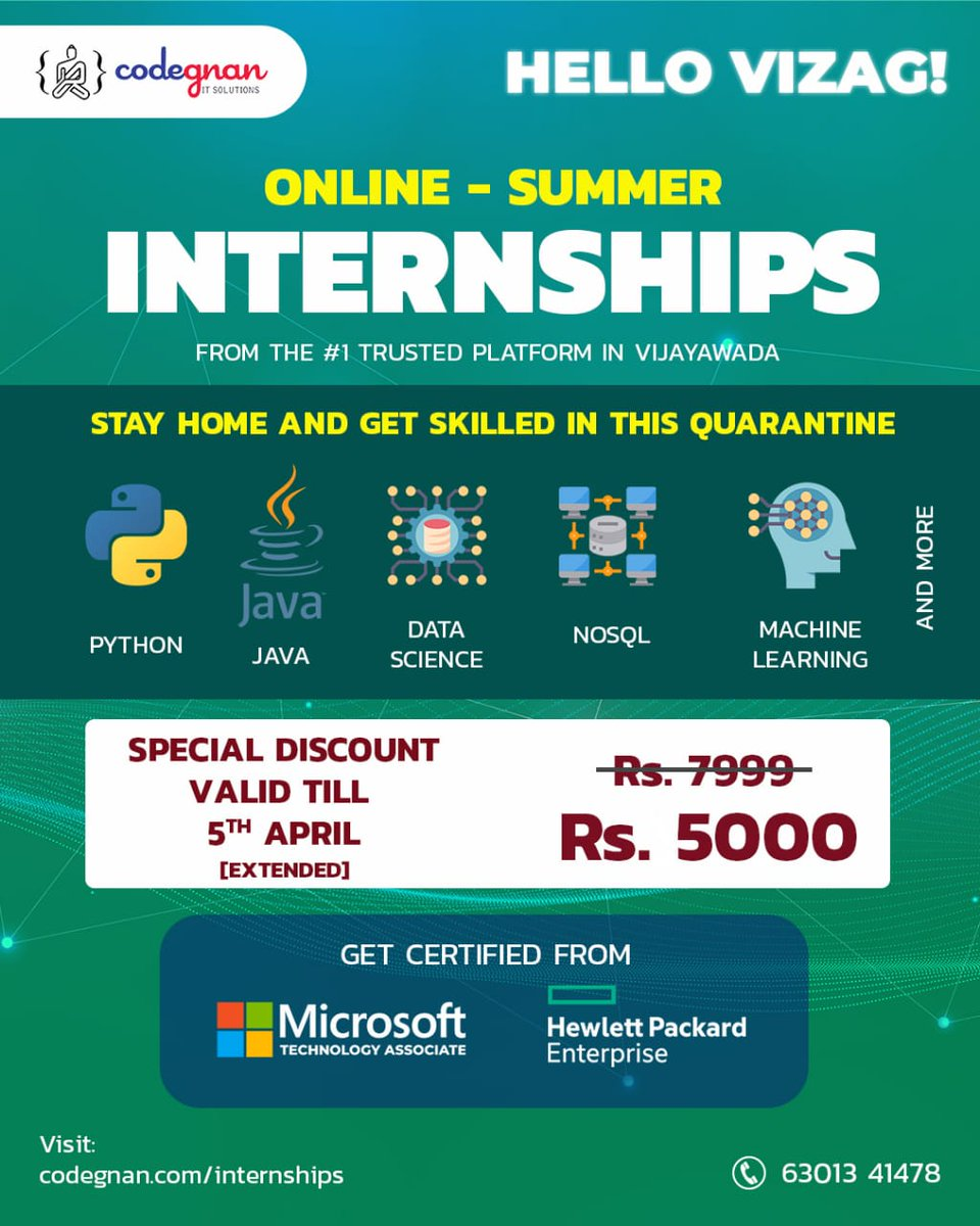 🖥️ #Online #Summer #Internship Program 🧠 - @Codegnandotcom ➡️Know more: