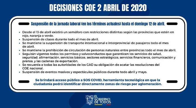 Lenín Moreno extiende suspensión de la jornada laboral hasta el 12 de abril y no habrá clases durante este mes