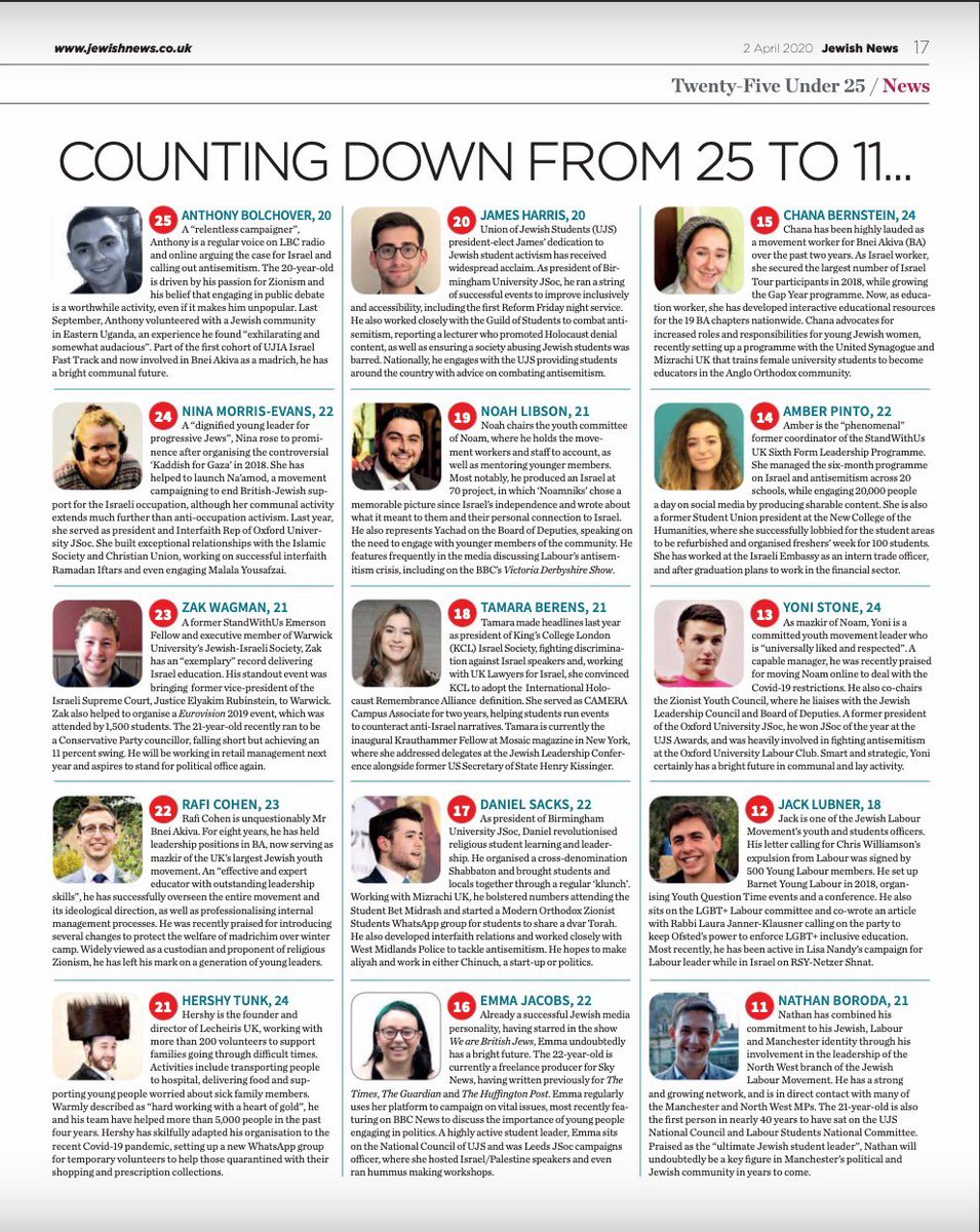 Mazal tov to @JackLubner, our co-Youth and Students Officer and @NathanCBoroda, our North West Youth and Student Officer, for making it on to the Jewish News 25 under 25, alongside many Jewish Labour Movement members! 👏🎊