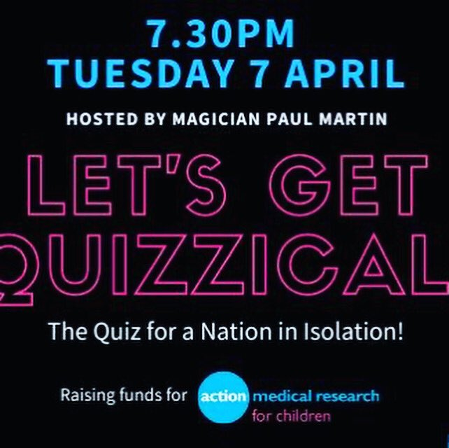 @MarcellaRobin Fancy a quiz on Tuesday night for @actionmedres? LET'S GET QUIZZICAL: a quiz for a nation in isolation! Get involved if you can! *please share*  #Quiz #Quizzing #COVID19 #Coronavirus #Isolation #Fun #Activity