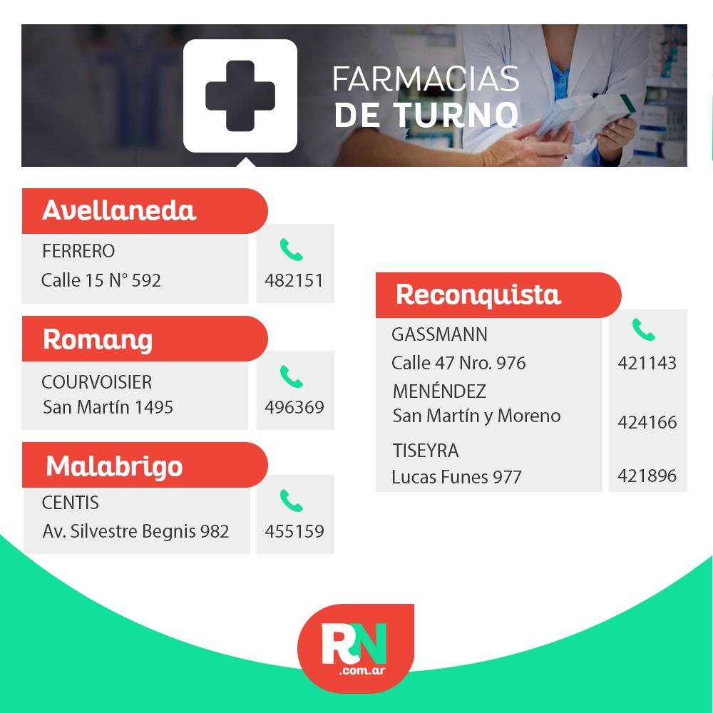 Farmacias de turno, jueves 02/04 desde las 8.00 h hasta el viernes 03/04 a las 8.00 h Encontrá las farmacias de turno de Reconquista, Avellaneda, Romang y Malabrigo en: https://regionnet.com.ar/servicios/farmacias…pic.twitter.com/nGBgkMFHB6