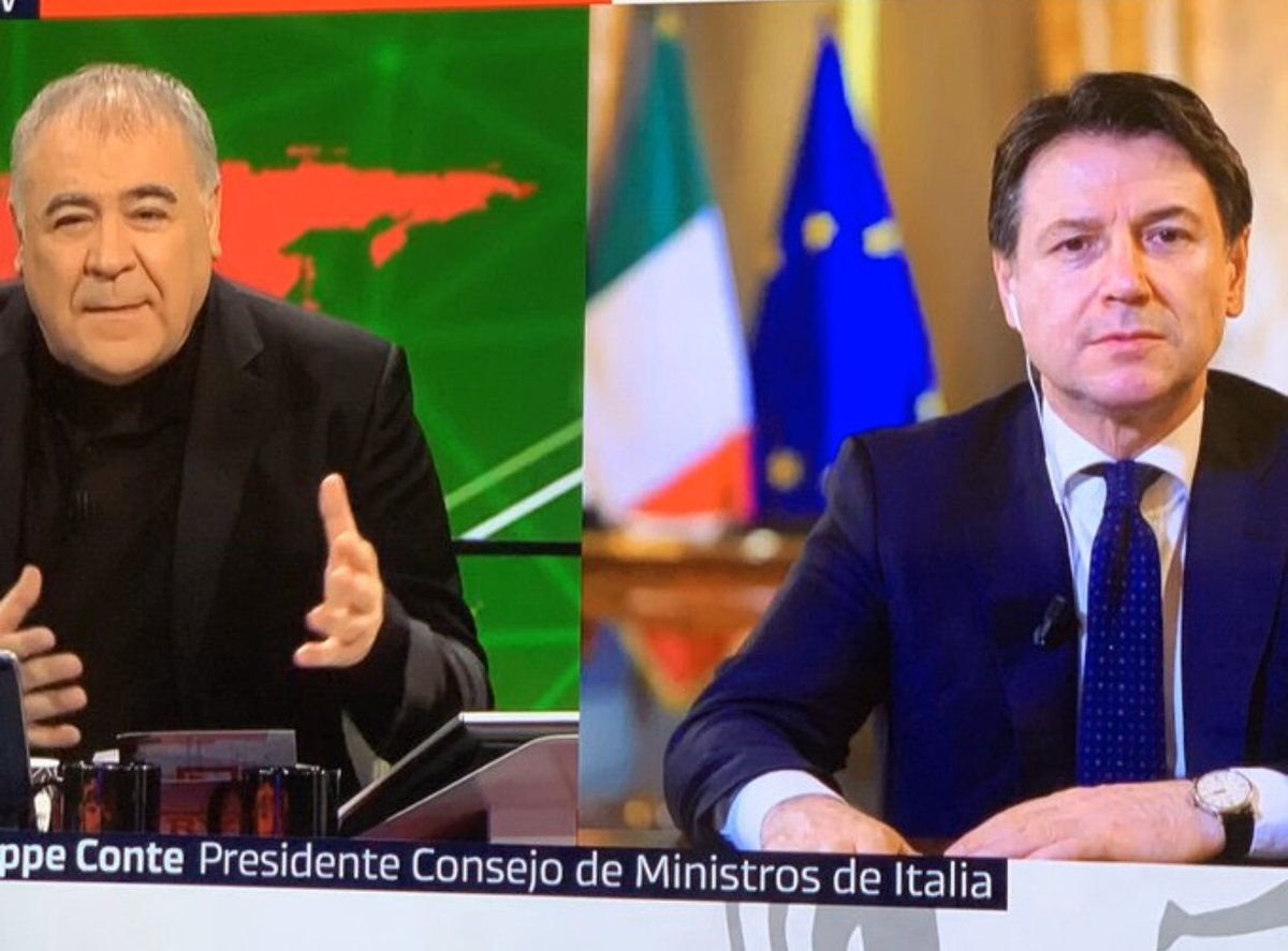 Giuseppe Conte now live on Spanish TV. I've personally never seen this done before. Live QA from a foreign leader in peak tv hours. Conte now best known than Macron I would say. <br>http://pic.twitter.com/DU0kIecddo
