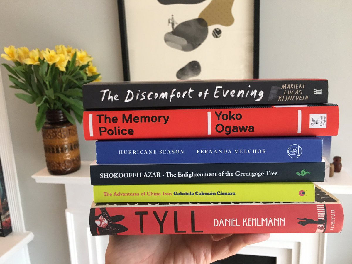 Here are the 6 novels that have just been shortlisted for the #InternationalBooker2020 🎉 📚  Very happy to see The Memory Police, Hurricane Season and Tyll listed as I particularly loved these books. I'm looking forward to reading Shokoofeh Azar's novel next.