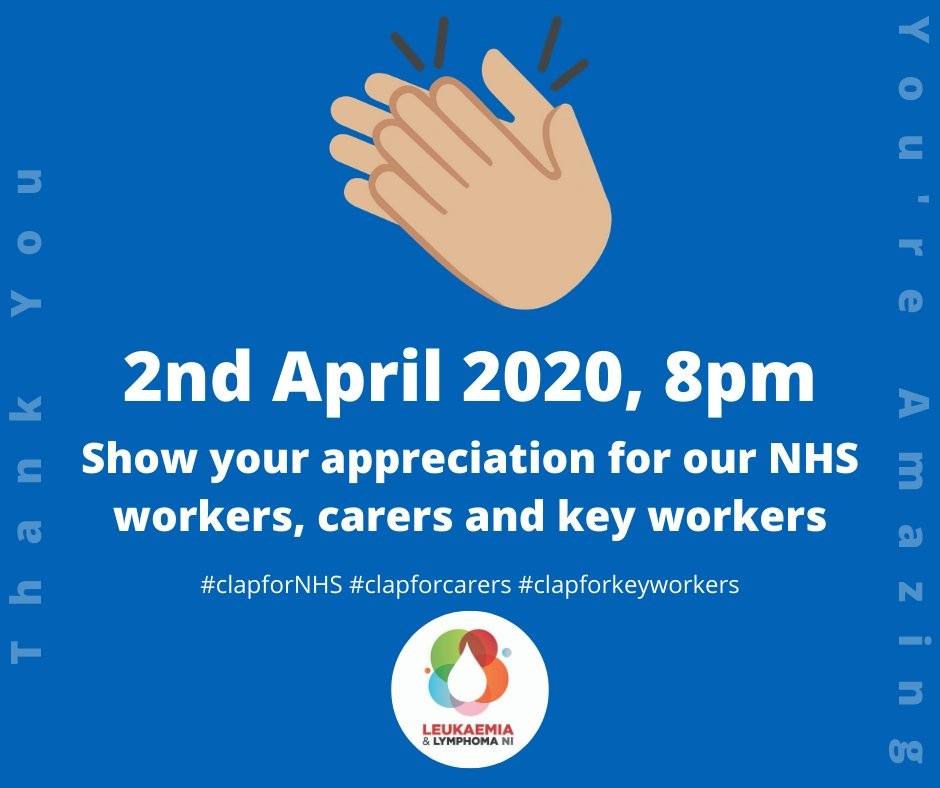 We get another chance tonight to show our gratitude+support for all those wonderful people taking care of us!  At 8pm stand on the doorstep, open a window, clap + cheer for all our NHS staff, carers + key workers!  #clapforNHS #clapforkeyworkers #clapforcarers #stayhomesavelivespic.twitter.com/5F4m8J6x6h