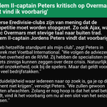 Image for the Tweet beginning: 🤖 'Willem II-captain Peters kritisch